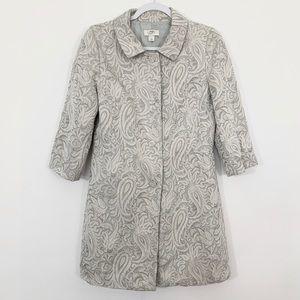 Ann Taylor Loft Trench Coat Paisley textured print